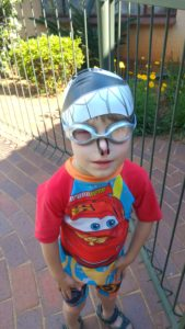 nose clips, goggles, cap from Spurt